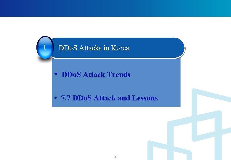 1 DDo. S Attacks in Korea • DDo. S Attack Trends • 7. 7
