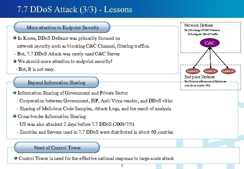7. 7 DDo. S Attack (3/3) - Lessons Network Defense More attention to Endpoint