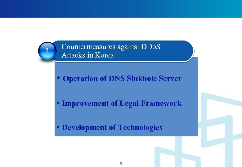 2 Countermeasures against DDo. S Attacks in Korea • Operation of DNS Sinkhole Server