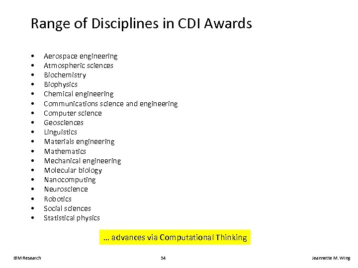 Range of Disciplines in CDI Awards • • • • • Aerospace engineering Atmospheric