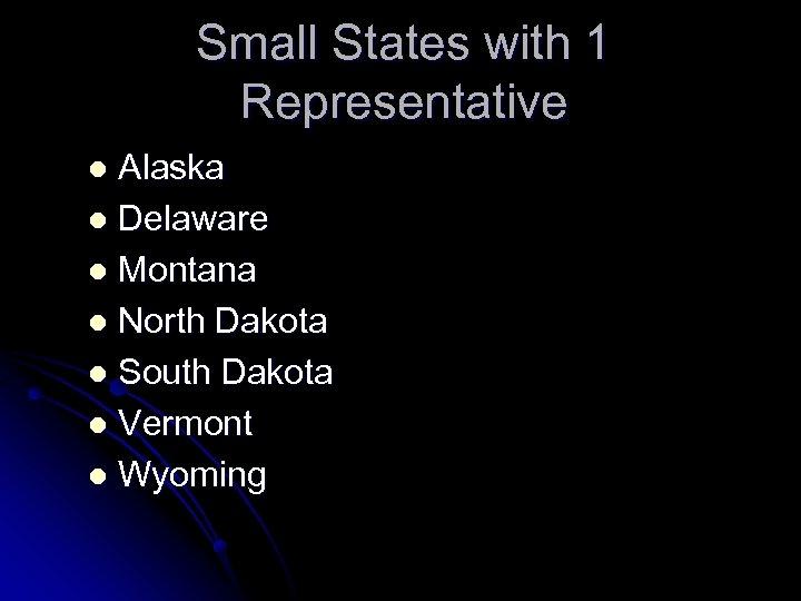 Small States with 1 Representative Alaska l Delaware l Montana l North Dakota l