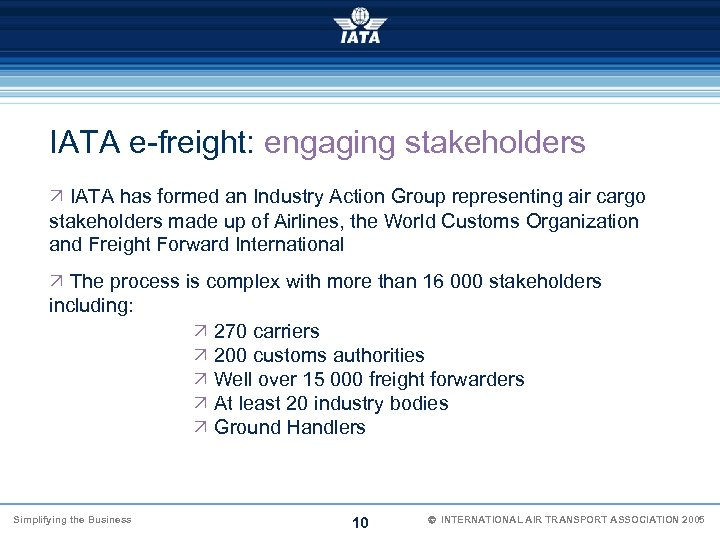 IATA e-freight: engaging stakeholders Ö IATA has formed an Industry Action Group representing air