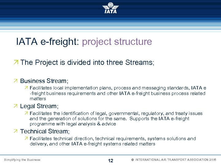 IATA e-freight: project structure Ö The Project is divided into three Streams; Ö Business