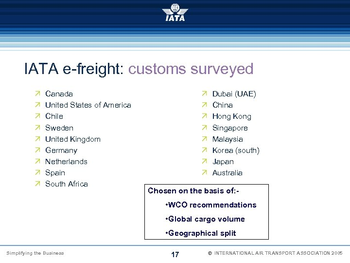 IATA e-freight: customs surveyed Ö Ö Ö Ö Ö Canada United States of America