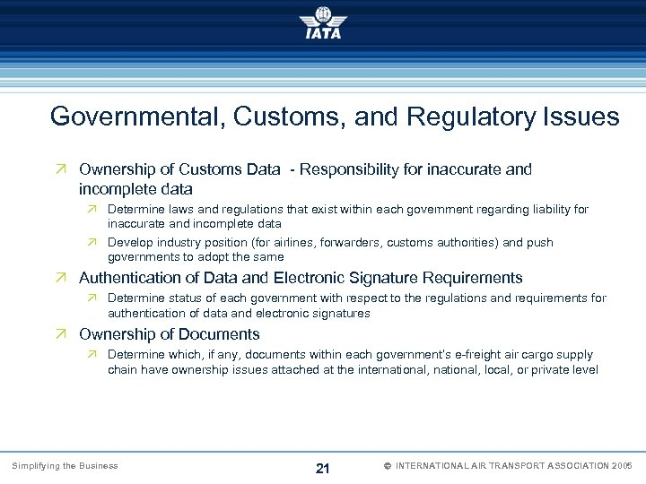 Governmental, Customs, and Regulatory Issues Ö Ownership of Customs Data - Responsibility for inaccurate