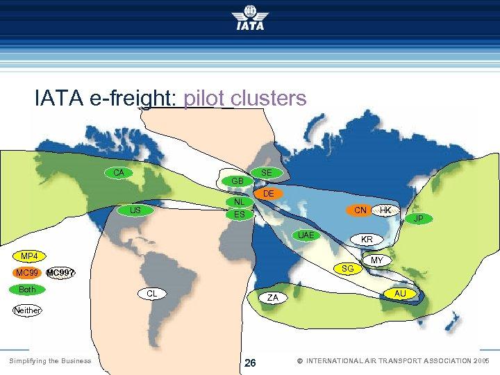 IATA e-freight: pilot clusters CA SE GB NL ES US DE CN UAE SG