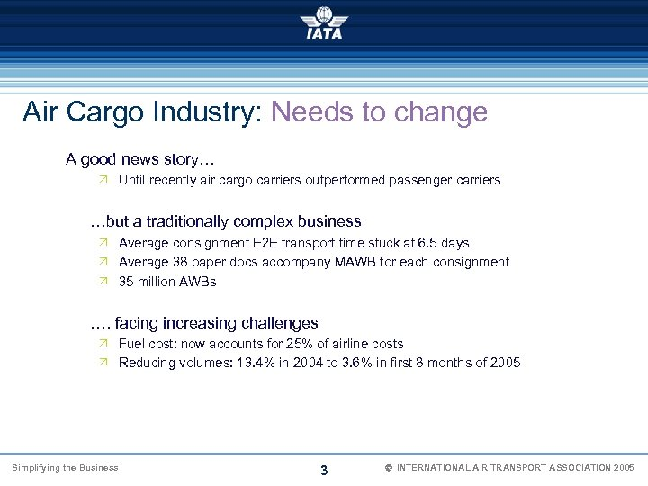 Air Cargo Industry: Needs to change A good news story… Ö Until recently air