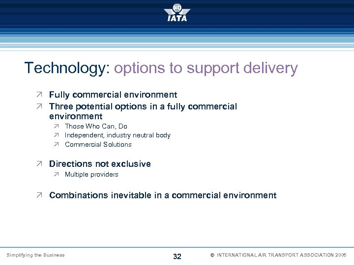Technology: options to support delivery Ö Fully commercial environment Ö Three potential options in