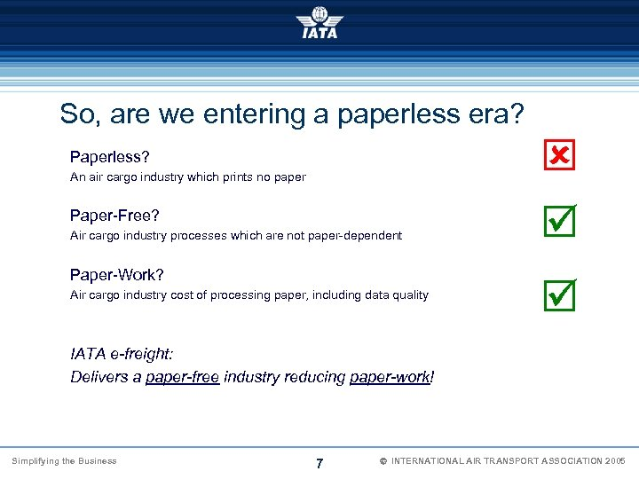 So, are we entering a paperless era? Paperless? An air cargo industry which prints