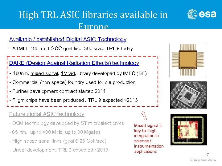 High TRL ASIC libraries available in Europe Available / established Digital ASIC Technology -