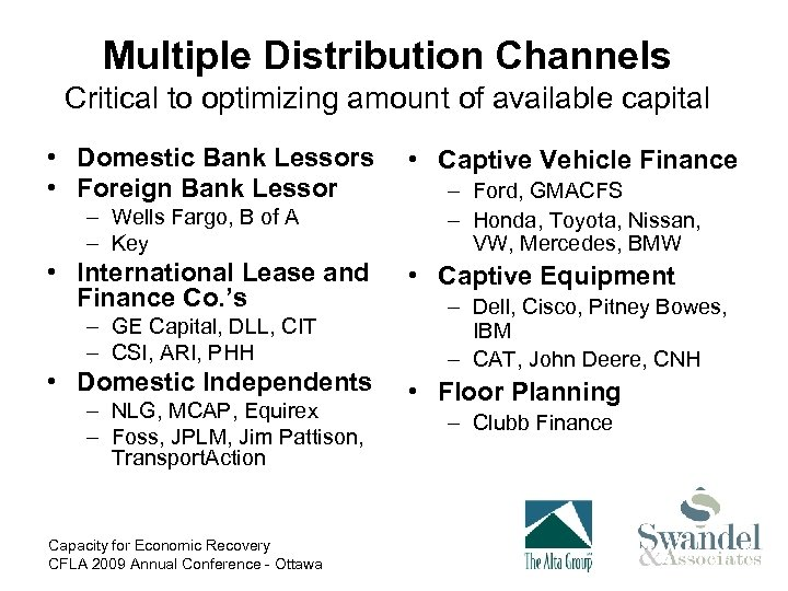 Multiple Distribution Channels Critical to optimizing amount of available capital • Domestic Bank Lessors