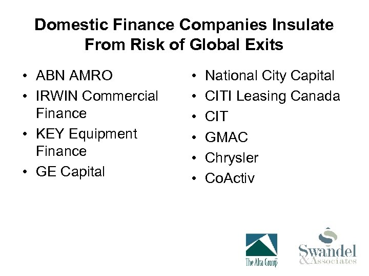 Domestic Finance Companies Insulate From Risk of Global Exits • ABN AMRO • IRWIN