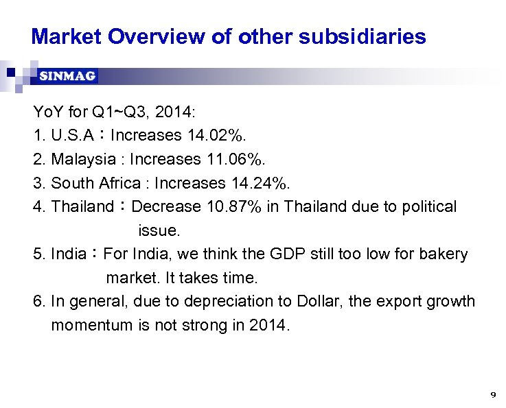Market Overview of other subsidiaries Yo. Y for Q 1~Q 3, 2014: 1. U.