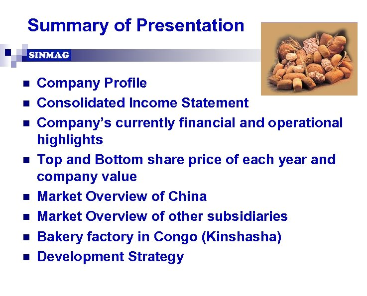 Summary of Presentation n n n n Company Profile Consolidated Income Statement Company's currently