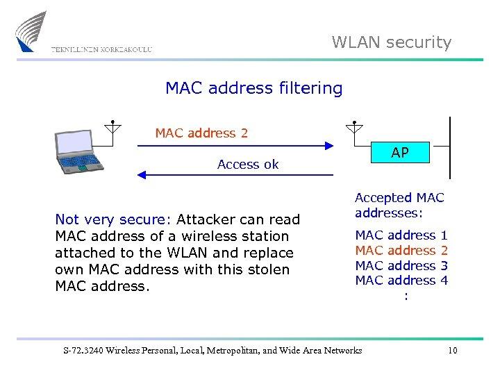 WLAN security MAC address filtering MAC address 2 AP Access ok Not very secure: