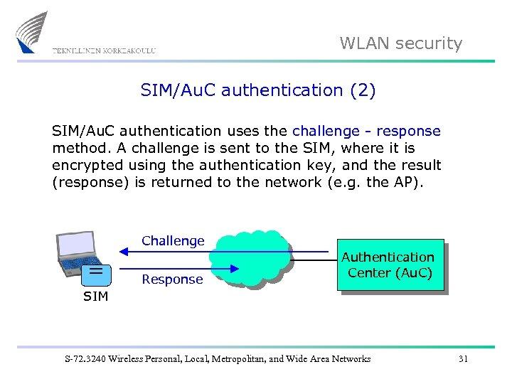 WLAN security SIM/Au. C authentication (2) SIM/Au. C authentication uses the challenge - response