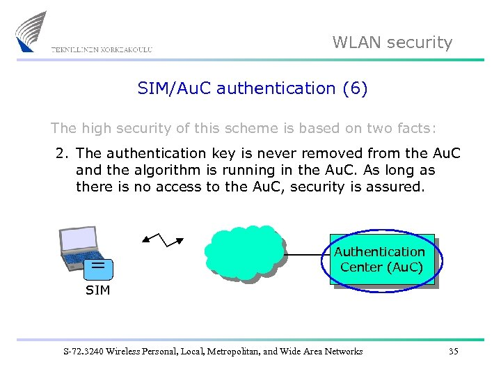 WLAN security SIM/Au. C authentication (6) The high security of this scheme is based