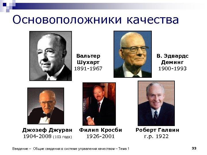 Основоположники качества Вальтер Шухарт 1891 -1967 Джозеф Джуран 1904 -2008 (103 года) Филип Кросби