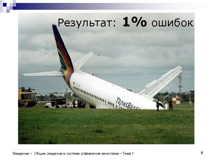 Результат: 1% ошибок Введение – Общие сведения о системе управления качеством – Тема 1
