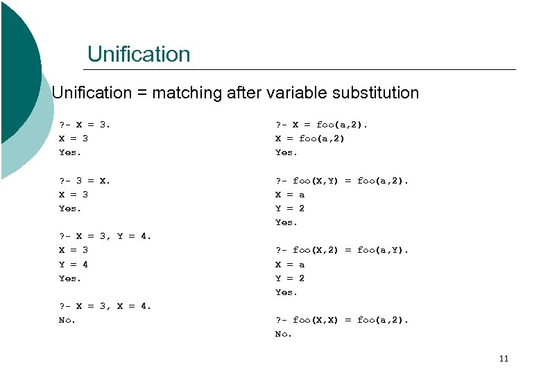 Unification = matching after variable substitution ? - X = 3 Yes. ? -