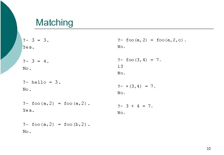 Matching ? - 3 = 3. Yes. ? - foo(a, 2) = foo(a, 2,