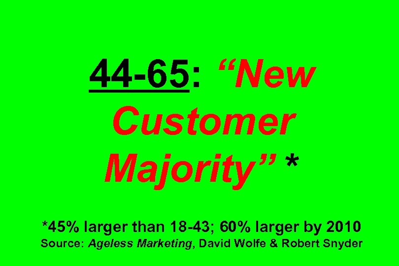 """44 -65: """"New Customer Majority"""" * *45% larger than 18 -43; 60% larger by"""