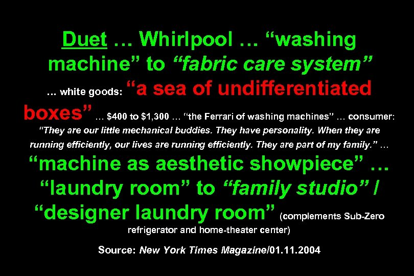 """Duet … Whirlpool … """"washing machine"""" to """"fabric care system"""" … white goods: """"a"""