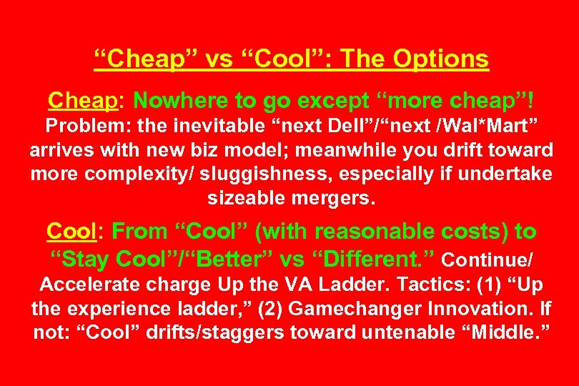 """""""Cheap"""" vs """"Cool"""": The Options Cheap: Nowhere to go except """"more cheap""""! Problem: the"""
