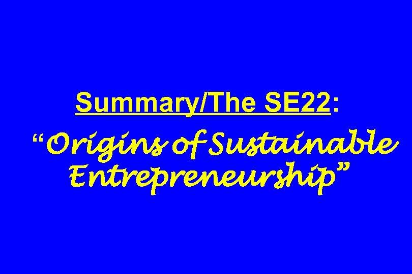 """Summary/The SE 22: """"Origins of Sustainable Entrepreneurship"""""""