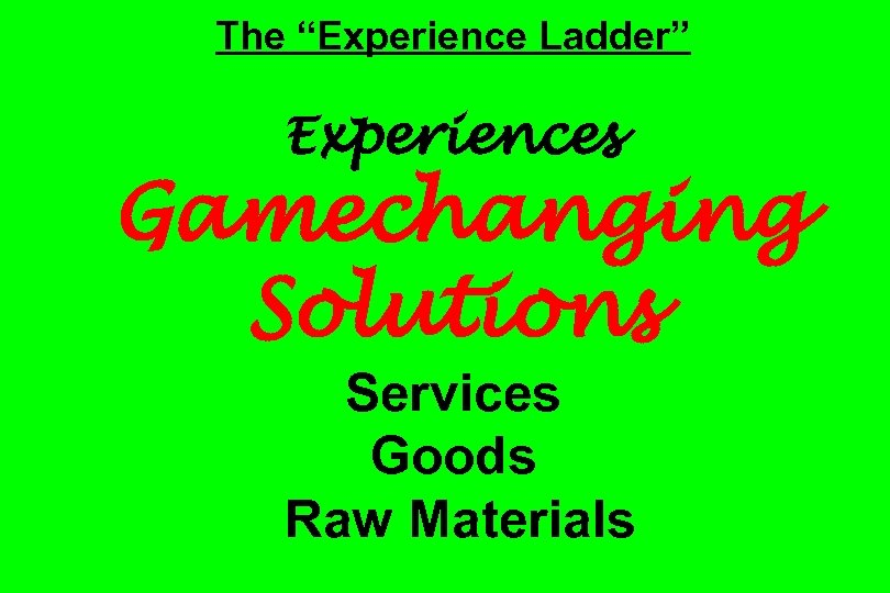 """The """"Experience Ladder"""" Experiences Gamechanging Solutions Services Goods Raw Materials"""