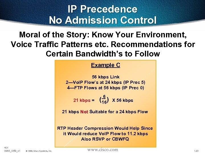 IP Precedence No Admission Control Moral of the Story: Know Your Environment, Voice Traffic
