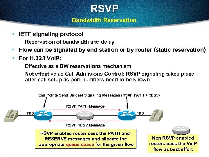 RSVP Bandwidth Reservation • IETF signaling protocol Reservation of bandwidth and delay • Flow