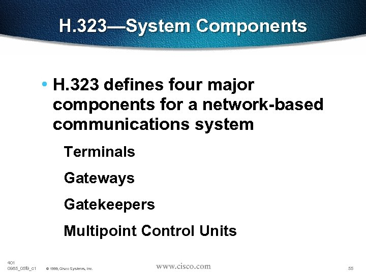 H. 323—System Components • H. 323 defines four major components for a network-based communications