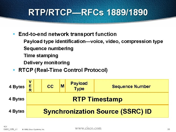 RTP/RTCP—RFCs 1889/1890 • End-to-end network transport function Payload type identification—voice, video, compression type Sequence