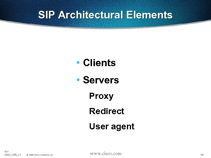 SIP Architectural Elements • Clients • Servers Proxy Redirect User agent 401 0985_05 f
