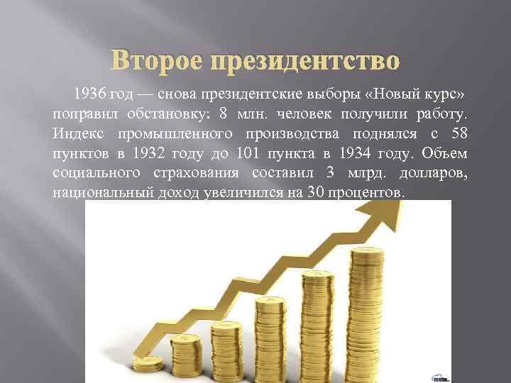 Второе президентство 1936 год — снова президентские выборы «Новый курс» поправил обстановку: 8 млн.