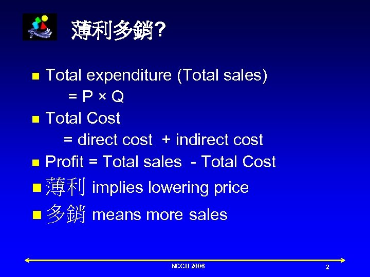 薄利多銷? n n n Total expenditure (Total sales) =P×Q Total Cost = direct cost