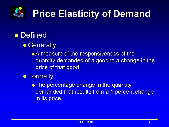 Price Elasticity of Demand n Defined l Generally u. A measure of the responsiveness