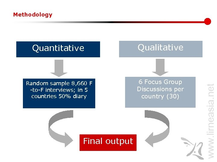 Methodology Qualitative Random sample 8, 660 F -to-F interviews; in 5 countries 50% diary