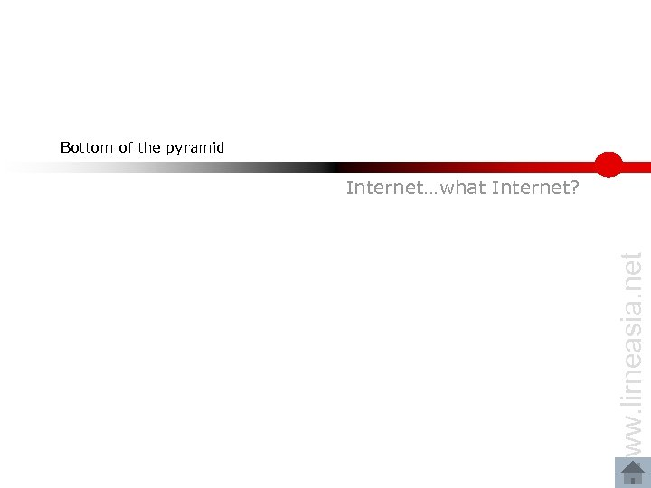 Bottom of the pyramid www. lirneasia. net Internet…what Internet?