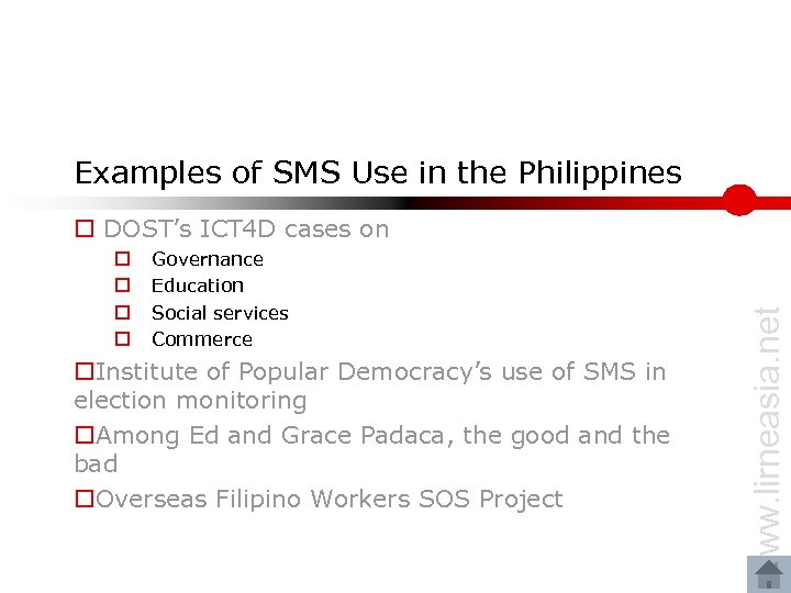 Examples of SMS Use in the Philippines o o Governance Education Social services Commerce