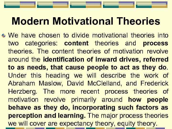 Modern Motivational Theories We have chosen to divide motivational theories into two categories: content