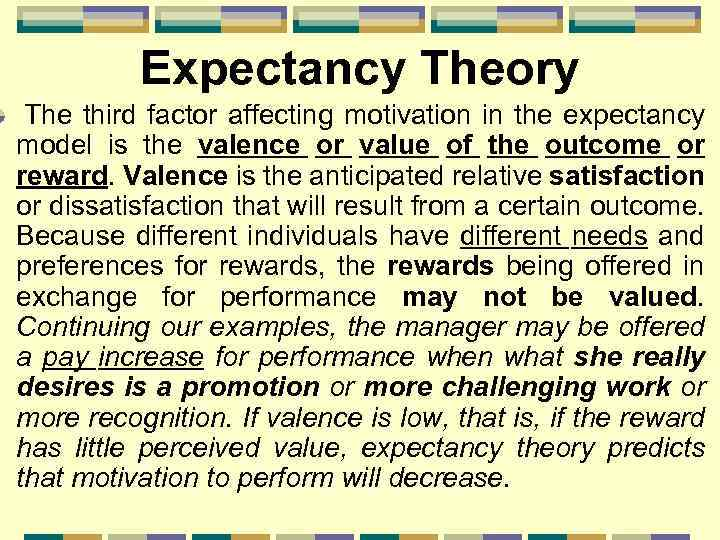 Expectancy Theory The third factor affecting motivation in the expectancy model is the valence
