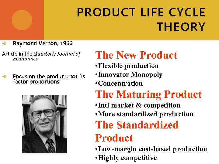 PRODUCT LIFE CYCLE THEORY Raymond Vernon, 1966 Article in the Quarterly Journal of Economics