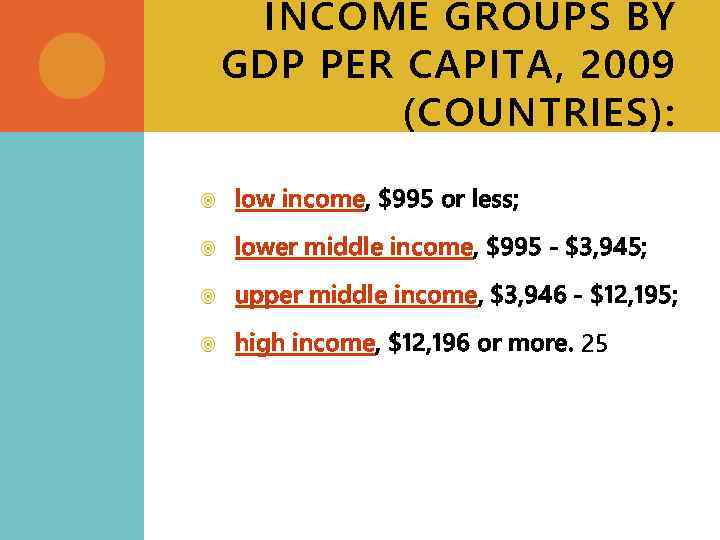 INCOME GROUPS BY GDP PER CAPITA, 2009 (COUNTRIES): low income, $995 or less; lower