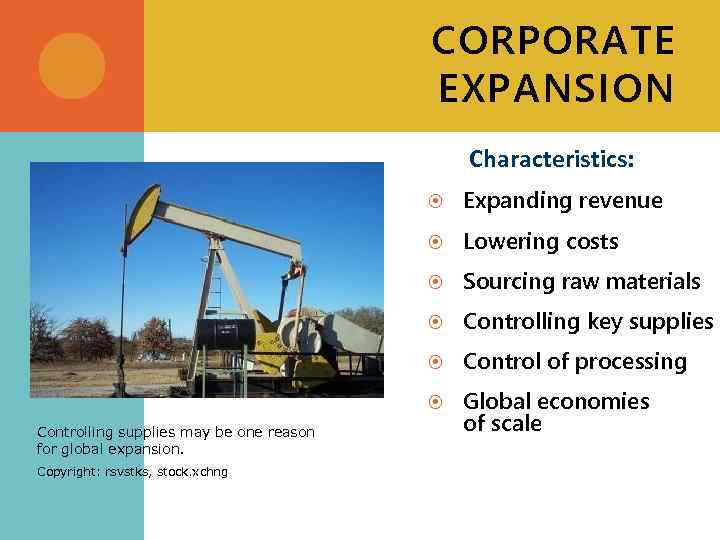 CORPORATE EXPANSION Characteristics: Sourcing raw materials Controlling key supplies Control of processing Copyright: rsvstks,