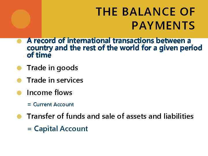 THE BALANCE OF PAYMENTS A record of international transactions between a country and the