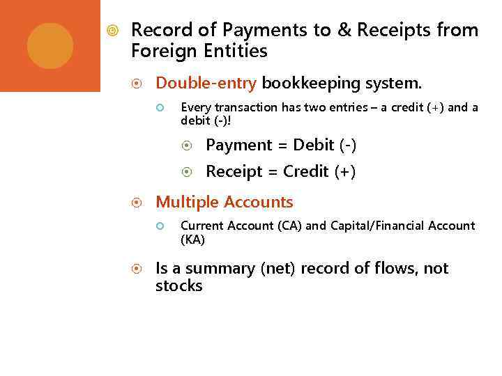 Record of Payments to & Receipts from Foreign Entities Double-entry bookkeeping system. Every