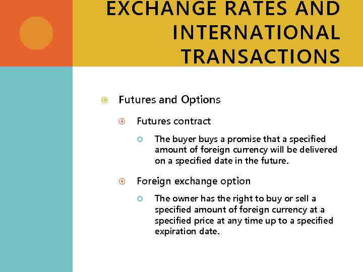 EXCHANGE RATES AND INTERNATIONAL TRANSACTIONS Futures and Options Futures contract The buyer buys a