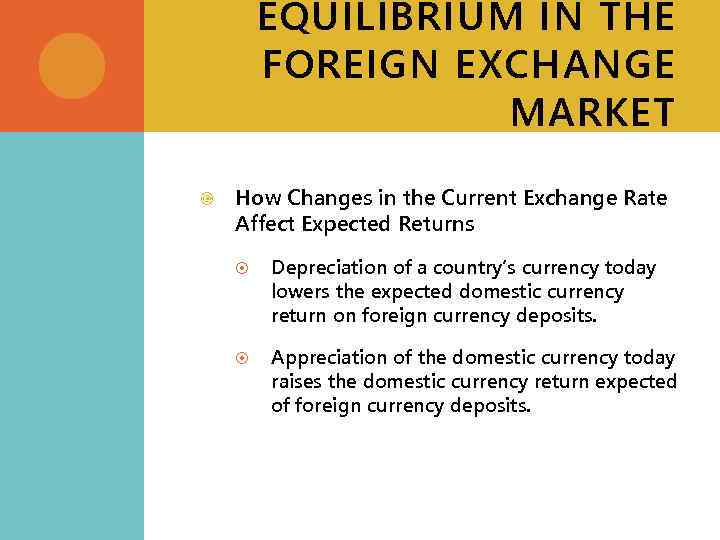 EQUILIBRIUM IN THE FOREIGN EXCHANGE MARKET How Changes in the Current Exchange Rate Affect